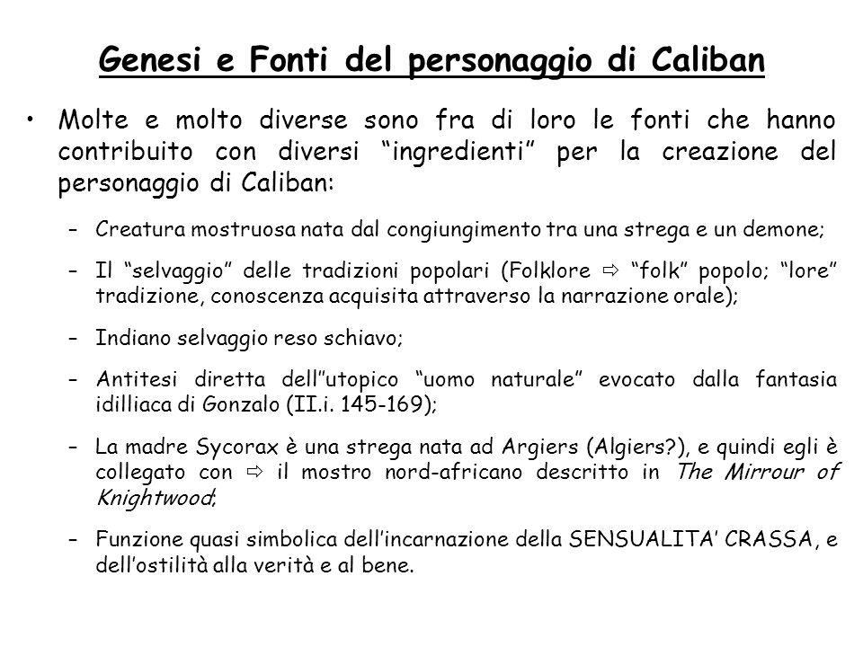 Genesi e Fonti del personaggio di Caliban Molte e molto diverse sono fra di loro le fonti che hanno contribuito con diversi ingredienti per la creazio