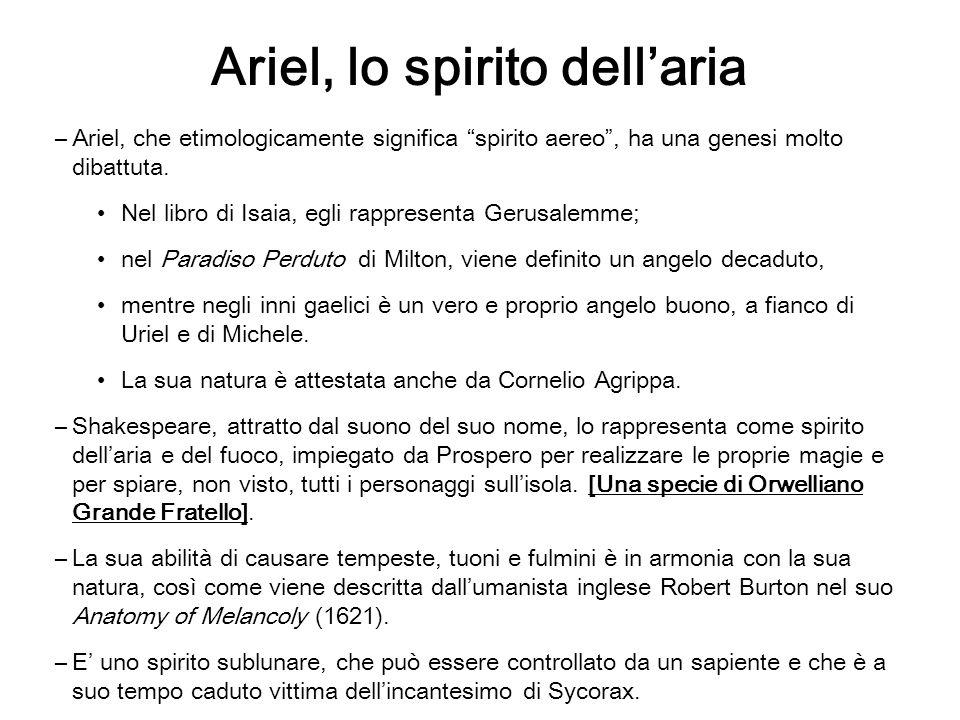 Ariel, lo spirito dellaria –Ariel, che etimologicamente significa spirito aereo, ha una genesi molto dibattuta. Nel libro di Isaia, egli rappresenta G