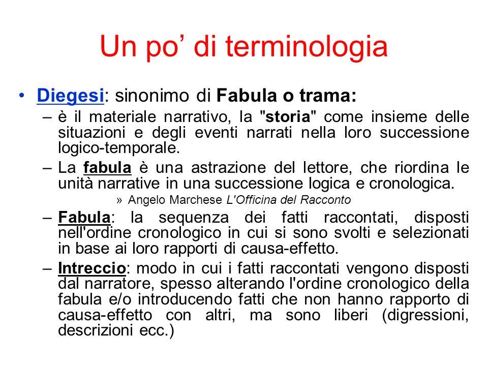 Un po di terminologia Diegesi: sinonimo di Fabula o trama: –è il materiale narrativo, la storia come insieme delle situazioni e degli eventi narrati nella loro successione logico-temporale.