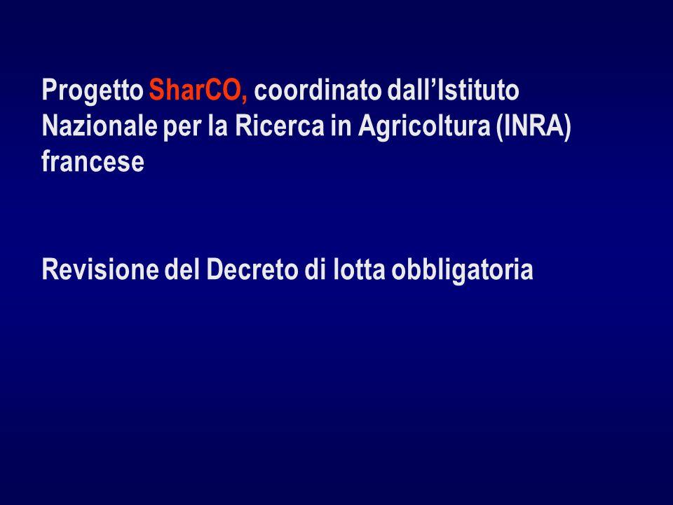 Progetto SharCO, coordinato dallIstituto Nazionale per la Ricerca in Agricoltura (INRA) francese Revisione del Decreto di lotta obbligatoria