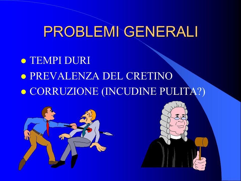 PROBLEMI GENERALI l TEMPI DURI l PREVALENZA DEL CRETINO l CORRUZIONE (INCUDINE PULITA?)
