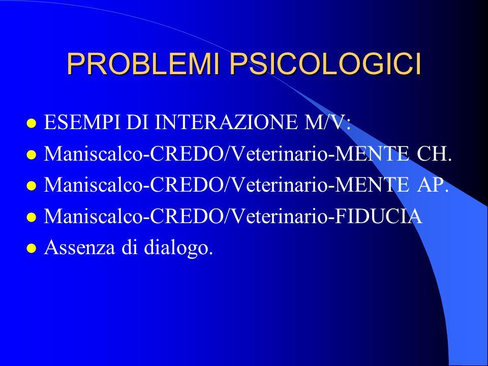 PROBLEMI PSICOLOGICI l esempi di considerazioni del proprietario: l Maniscalco-CREDO/Veterinario-no Indipendentemente dalla validità di quanto il veterinario esprime è comunque in errore in base al proprietario.