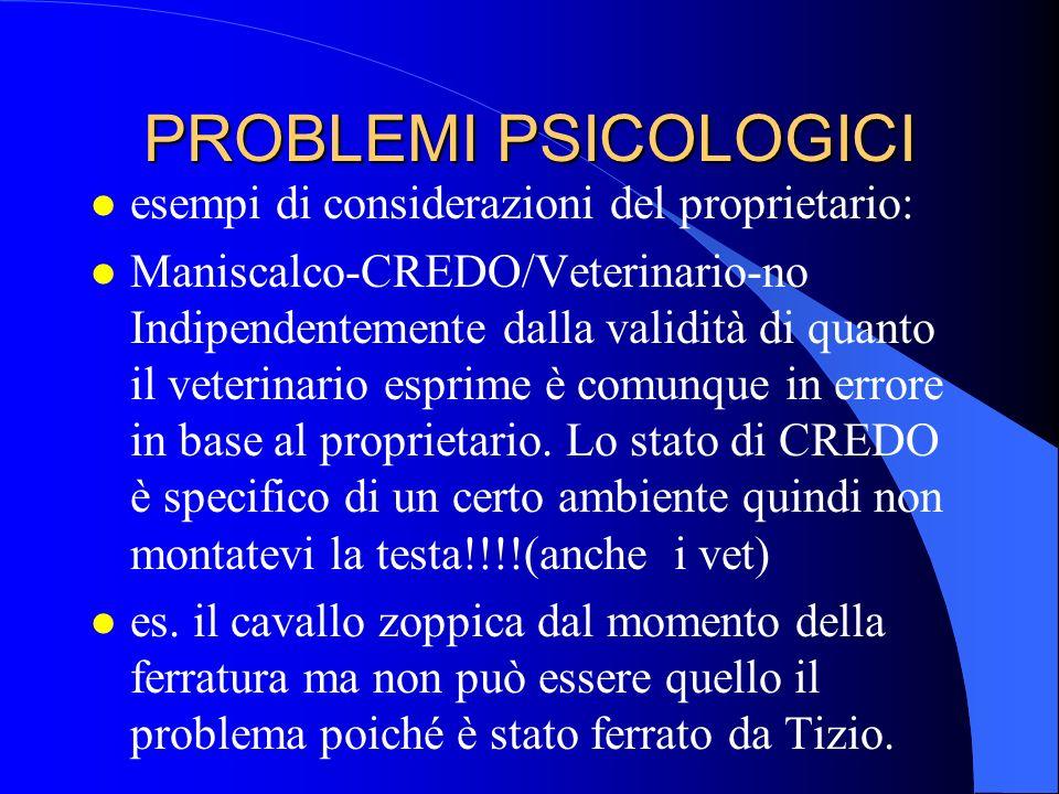 PROBLEMI PSICOLOGICI l esempi di considerazioni del proprietario: l Maniscalco-CREDO/Veterinario-no Indipendentemente dalla validità di quanto il vete