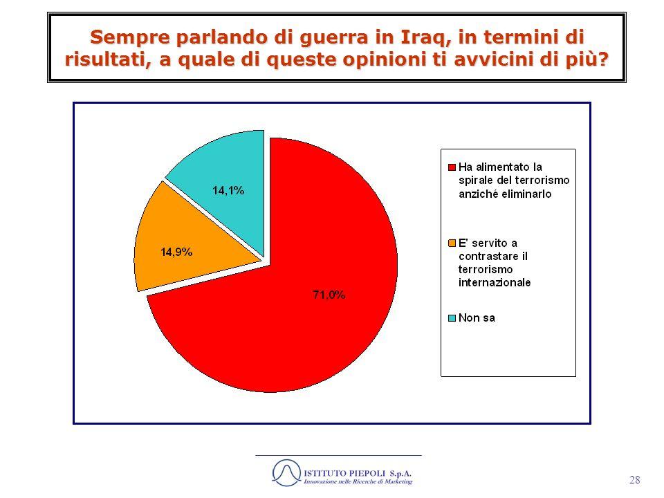 29 Rispetto alle denunce internazionali sulle violenze e torture inflitte da militari angloamericani a prigionieri e sospetti terroristi, la tua opinione è che si tratti di..