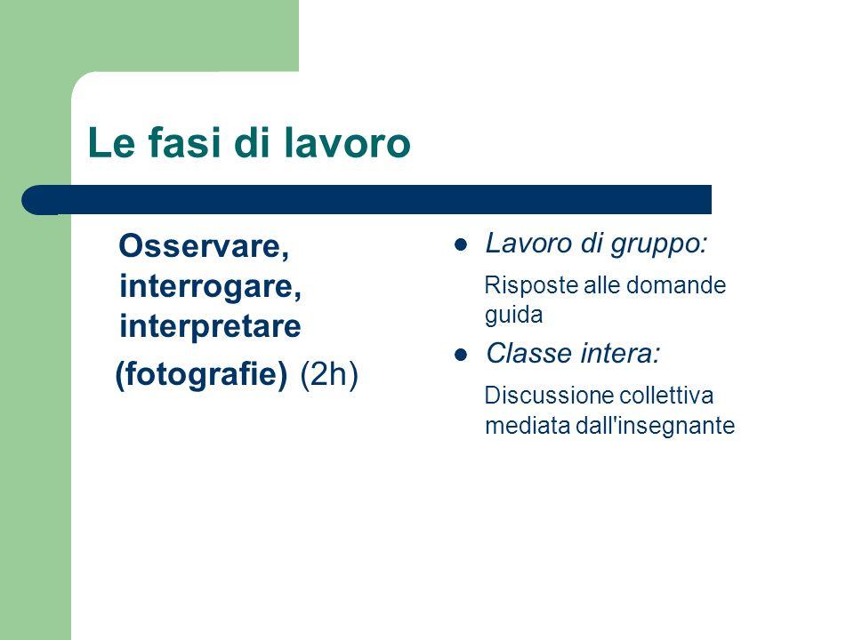 Le fasi di lavoro Osservare, interrogare, interpretare (fotografie) (2h) Lavoro di gruppo: Risposte alle domande guida Classe intera: Discussione coll