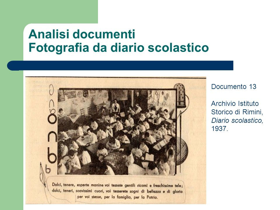 Analisi documenti Fotografia da diario scolastico Documento 13 Archivio Istituto Storico di Rimini, Diario scolastico, 1937.