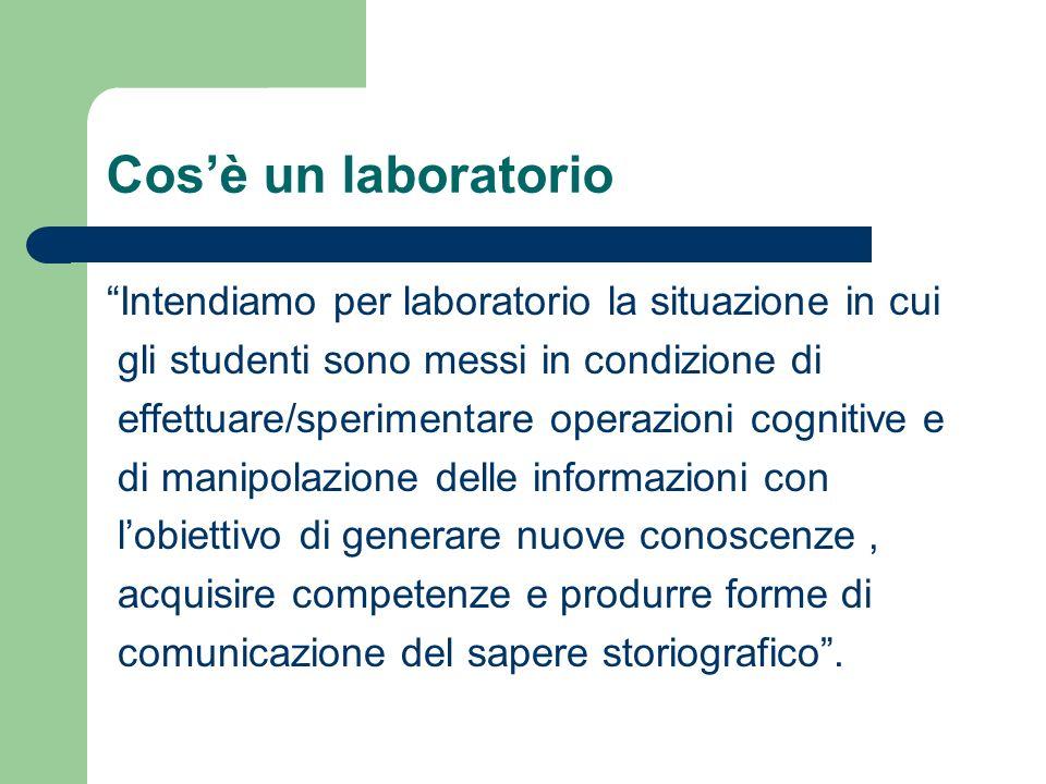 Cosè un laboratorio Intendiamo per laboratorio la situazione in cui gli studenti sono messi in condizione di effettuare/sperimentare operazioni cognit