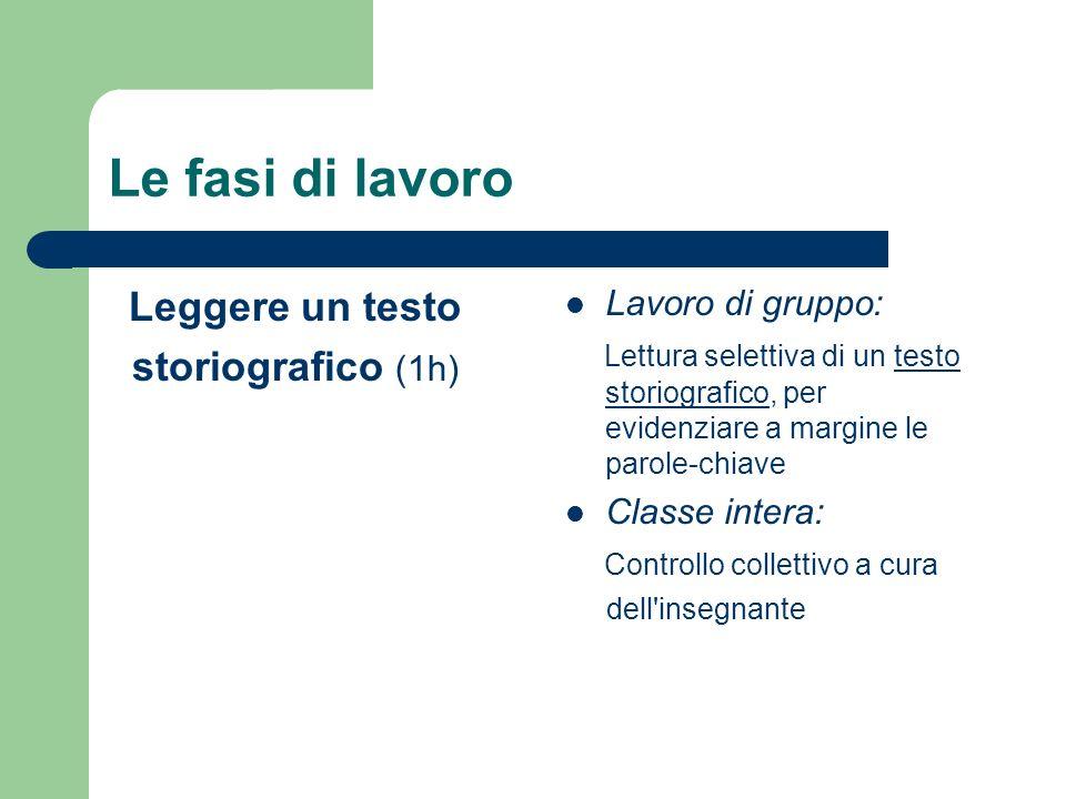 Le fasi di lavoro Leggere un testo storiografico (1h) Lavoro di gruppo: Lettura selettiva di un testo storiografico, per evidenziare a margine le paro
