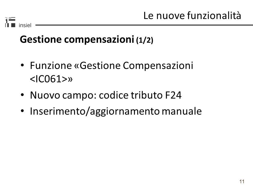 11 Gestione compensazioni (1/2) Le nuove funzionalità Funzione «Gestione Compensazioni » Nuovo campo: codice tributo F24 Inserimento/aggiornamento manuale