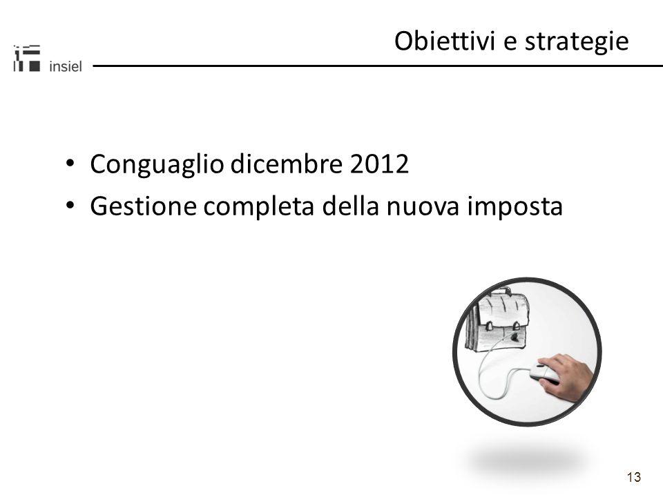 13 Obiettivi e strategie Conguaglio dicembre 2012 Gestione completa della nuova imposta