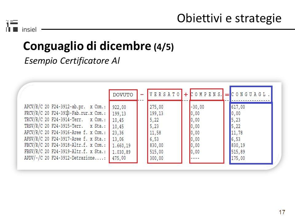 17 Obiettivi e strategie Conguaglio di dicembre (4/5) Esempio Certificatore Al