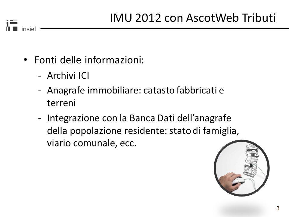 3 Fonti delle informazioni: -Archivi ICI -Anagrafe immobiliare: catasto fabbricati e terreni -Integrazione con la Banca Dati dellanagrafe della popola