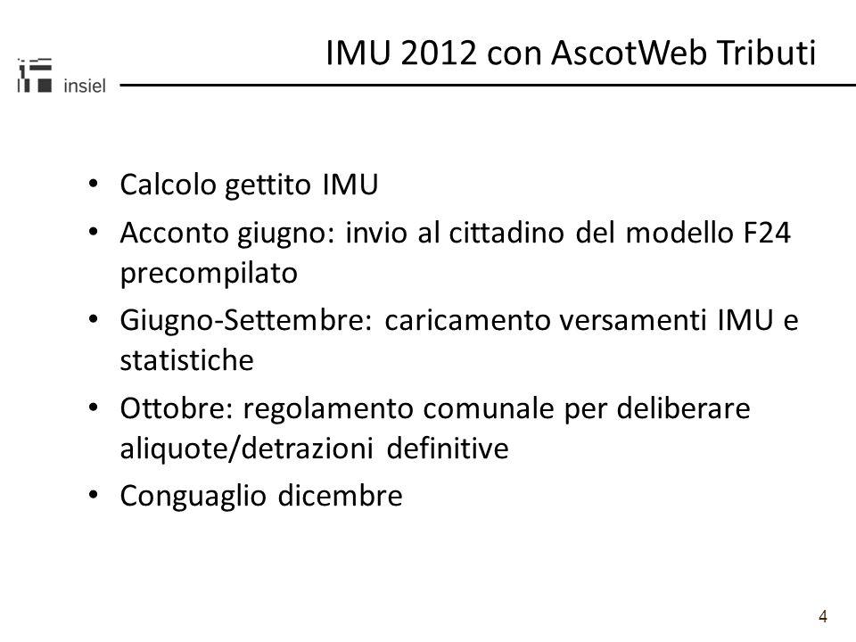 4 Calcolo gettito IMU Acconto giugno: invio al cittadino del modello F24 precompilato Giugno-Settembre: caricamento versamenti IMU e statistiche Ottob