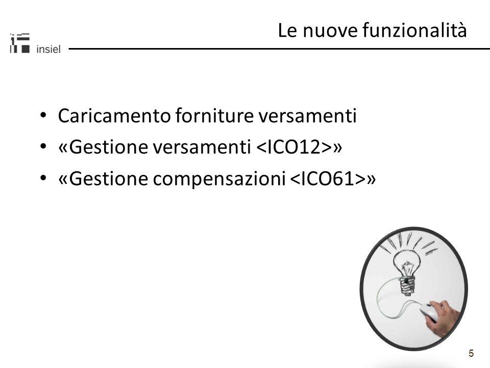 5 Le nuove funzionalità Caricamento forniture versamenti «Gestione versamenti » «Gestione compensazioni »