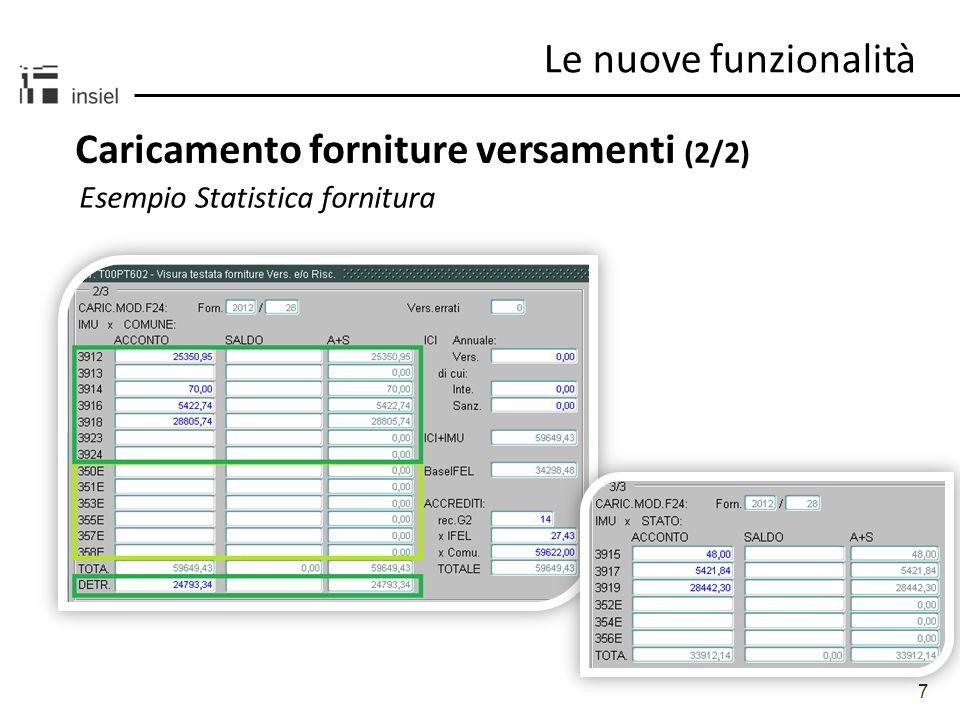 7 Caricamento forniture versamenti (2/2) Le nuove funzionalità Esempio Statistica fornitura