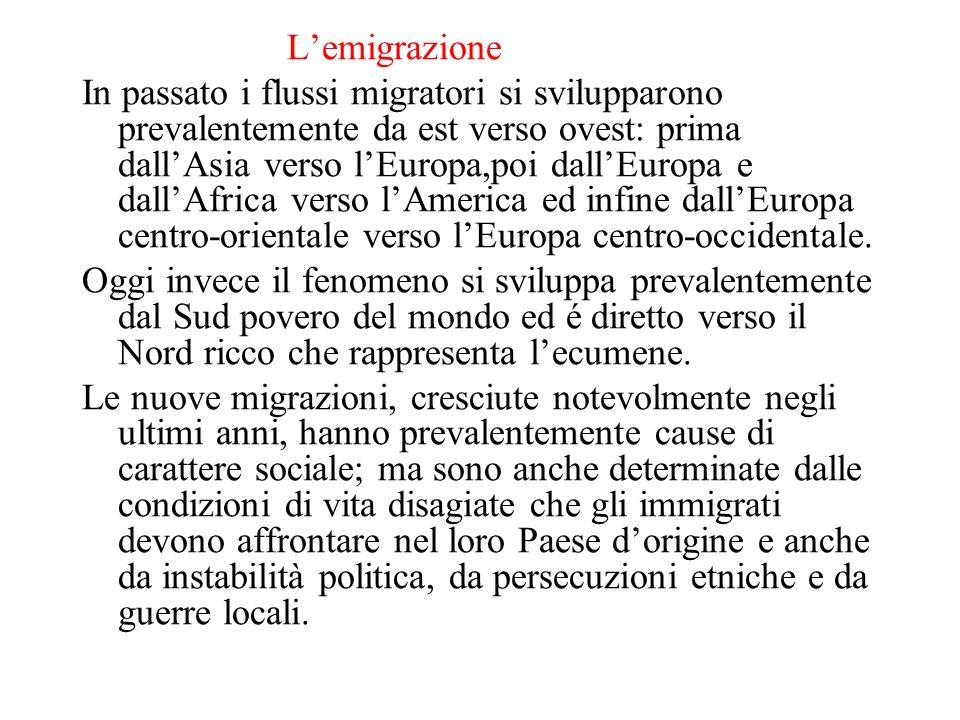 Lemigrazione In passato i flussi migratori si svilupparono prevalentemente da est verso ovest: prima dallAsia verso lEuropa,poi dallEuropa e dallAfric