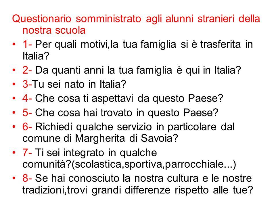 Questionario somministrato agli alunni stranieri della nostra scuola 1- Per quali motivi,la tua famiglia si è trasferita in Italia? 2- Da quanti anni
