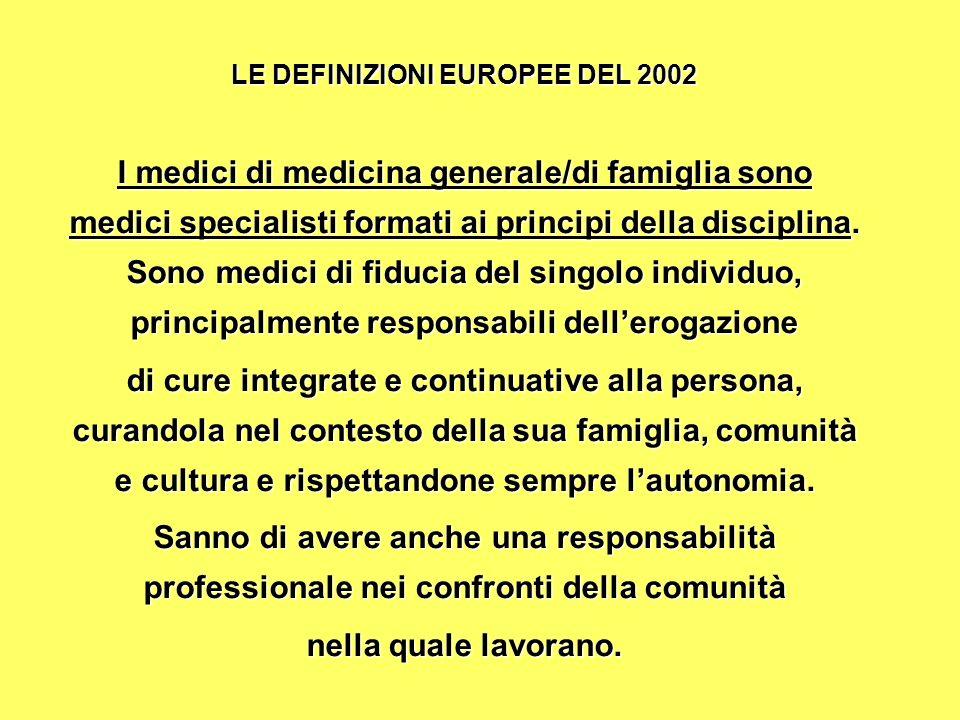 LE DEFINIZIONI EUROPEE DEL 2002 I medici di medicina generale/di famiglia sono medici specialisti formati ai principi della disciplina.