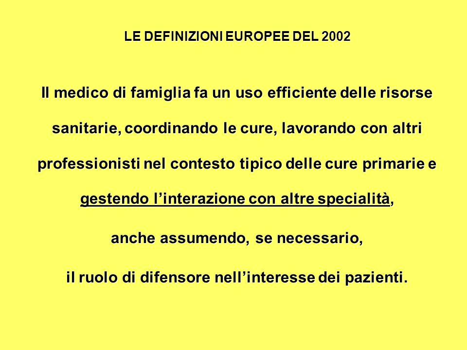 LE DEFINIZIONI EUROPEE DEL 2002 Il medico di famiglia fa un uso efficiente delle risorse sanitarie, coordinando le cure, lavorando con altri professionisti nel contesto tipico delle cure primarie e gestendo linterazione con altre specialità, anche assumendo, se necessario, il ruolo di difensore nellinteresse dei pazienti.