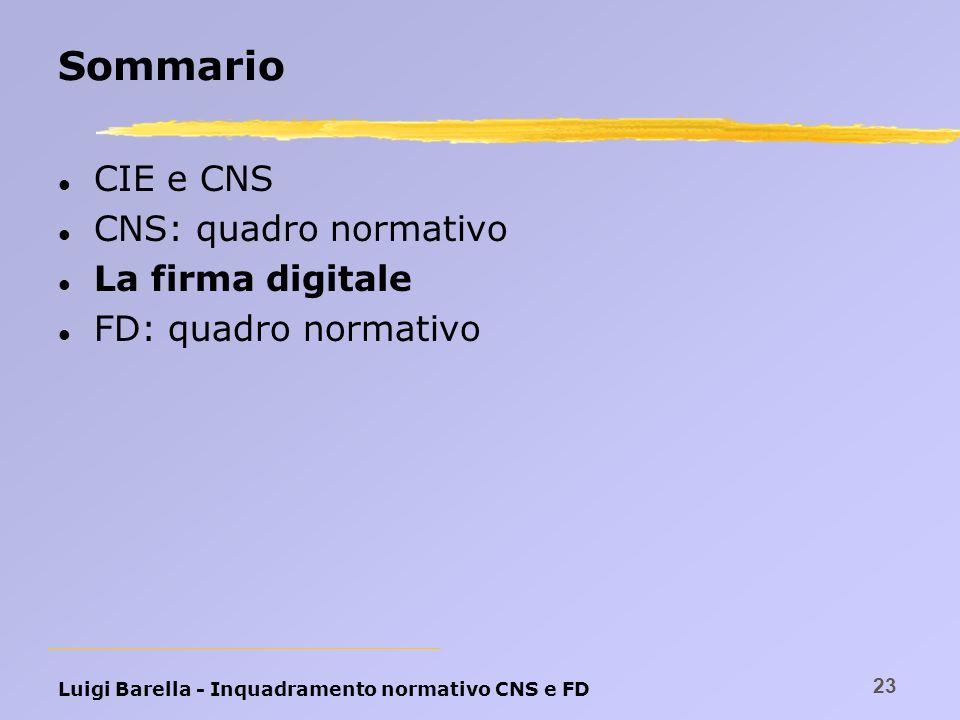 Luigi Barella - Inquadramento normativo CNS e FD 23 Sommario l CIE e CNS l CNS: quadro normativo l La firma digitale l FD: quadro normativo