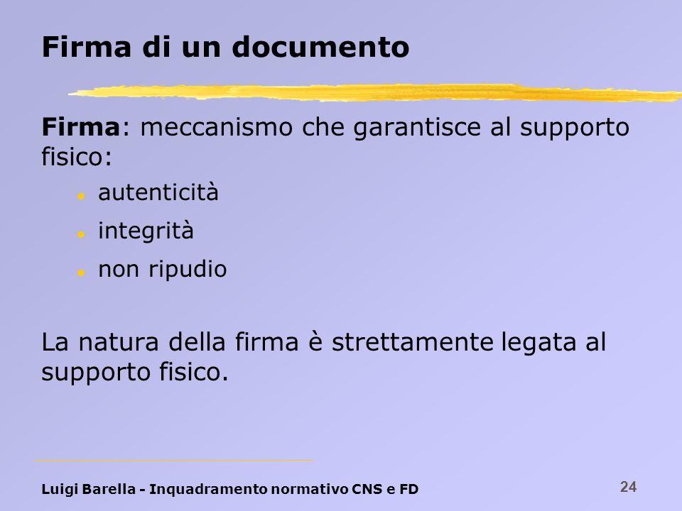 Luigi Barella - Inquadramento normativo CNS e FD 24 Firma di un documento Firma: meccanismo che garantisce al supporto fisico: l autenticità l integri