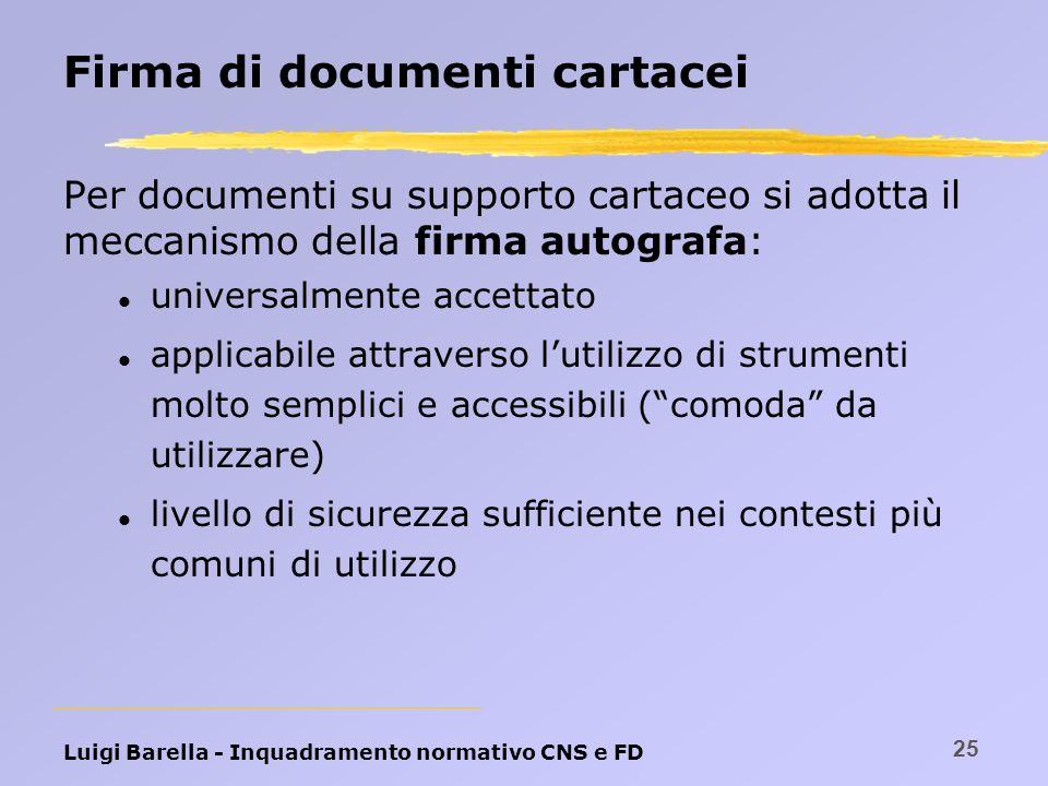 Luigi Barella - Inquadramento normativo CNS e FD 25 Firma di documenti cartacei Per documenti su supporto cartaceo si adotta il meccanismo della firma