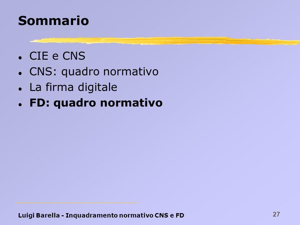 Luigi Barella - Inquadramento normativo CNS e FD 27 Sommario l CIE e CNS l CNS: quadro normativo l La firma digitale l FD: quadro normativo