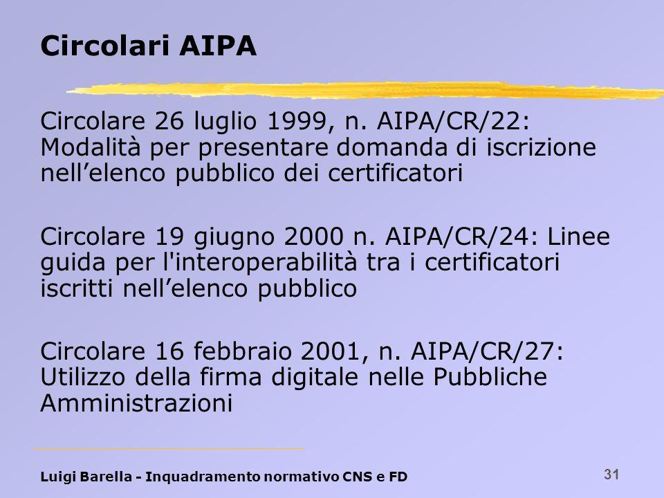 Luigi Barella - Inquadramento normativo CNS e FD 31 Circolari AIPA Circolare 26 luglio 1999, n. AIPA/CR/22: Modalità per presentare domanda di iscrizi