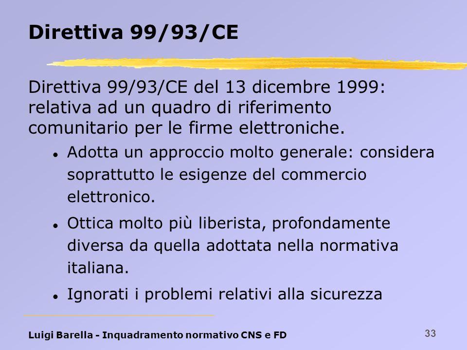 Luigi Barella - Inquadramento normativo CNS e FD 33 Direttiva 99/93/CE Direttiva 99/93/CE del 13 dicembre 1999: relativa ad un quadro di riferimento c