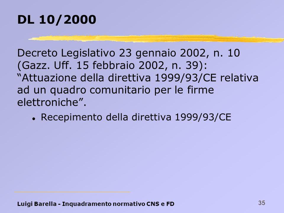 Luigi Barella - Inquadramento normativo CNS e FD 35 DL 10/2000 Decreto Legislativo 23 gennaio 2002, n. 10 (Gazz. Uff. 15 febbraio 2002, n. 39): Attuaz