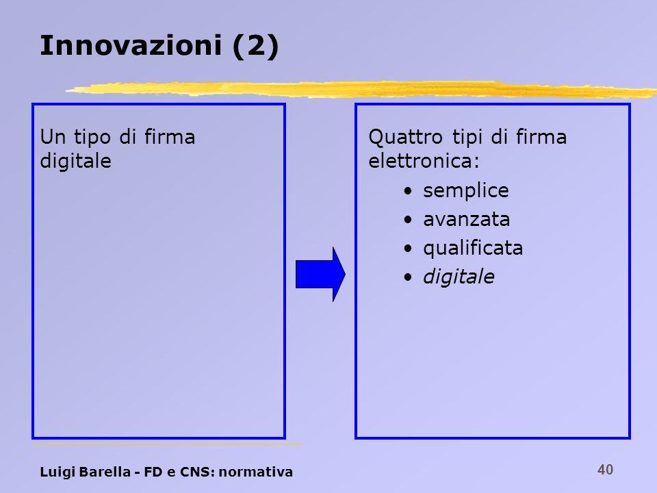 Luigi Barella - FD e CNS: normativa 40 Innovazioni (2) Un tipo di firma digitale Quattro tipi di firma elettronica: semplice avanzata qualificata digi