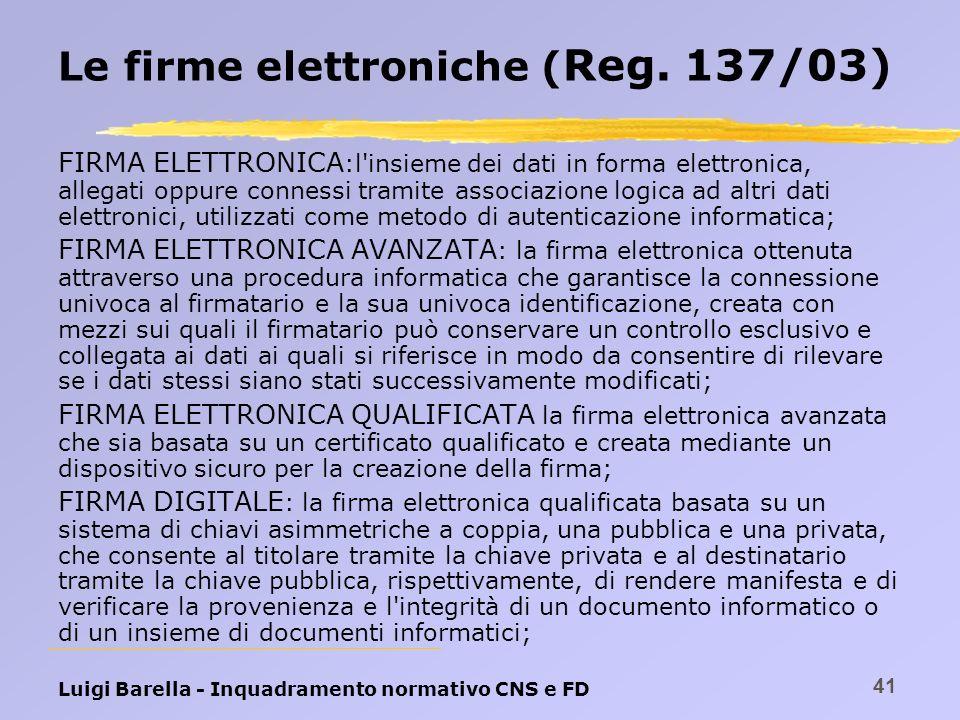 Luigi Barella - Inquadramento normativo CNS e FD 41 Le firme elettroniche ( Reg. 137/03) FIRMA ELETTRONICA :l'insieme dei dati in forma elettronica, a