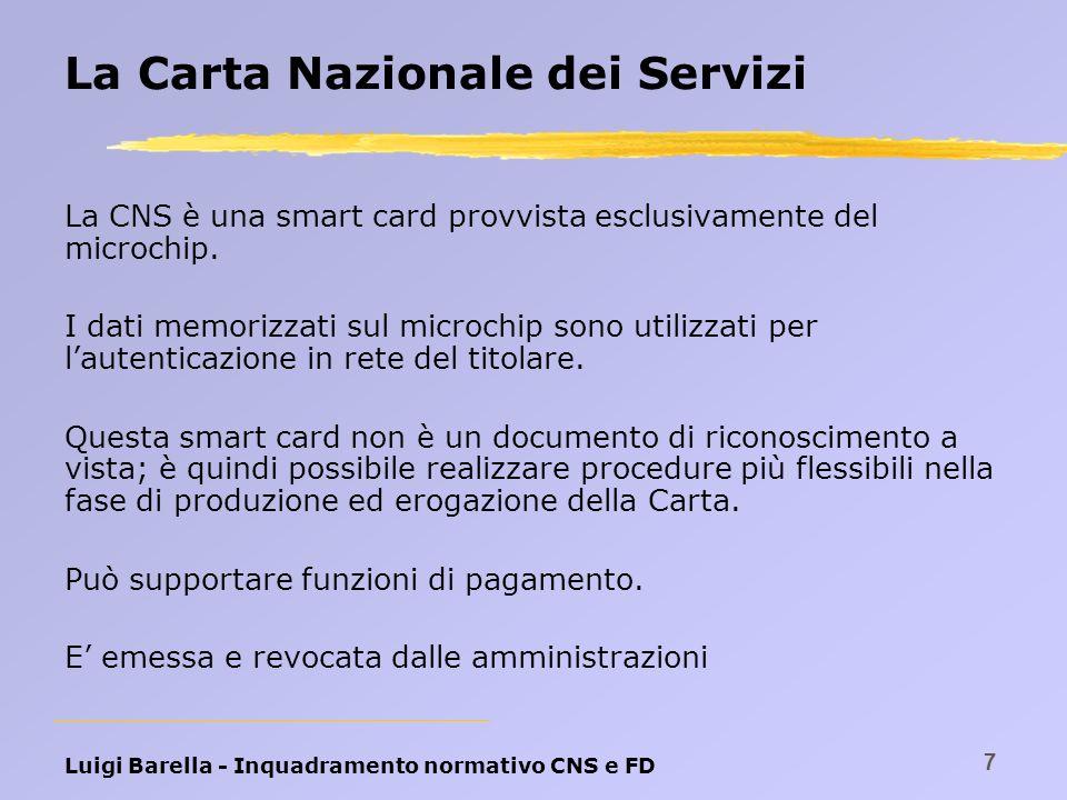 Luigi Barella - Inquadramento normativo CNS e FD 7 La Carta Nazionale dei Servizi La CNS è una smart card provvista esclusivamente del microchip. I da