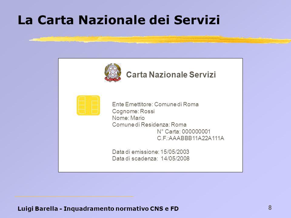 Luigi Barella - Inquadramento normativo CNS e FD 8 La Carta Nazionale dei Servizi Carta Nazionale Servizi Ente Emettitore: Comune di Roma Cognome: Ros