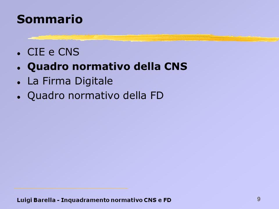 Luigi Barella - Inquadramento normativo CNS e FD 9 Sommario l CIE e CNS l Quadro normativo della CNS l La Firma Digitale l Quadro normativo della FD