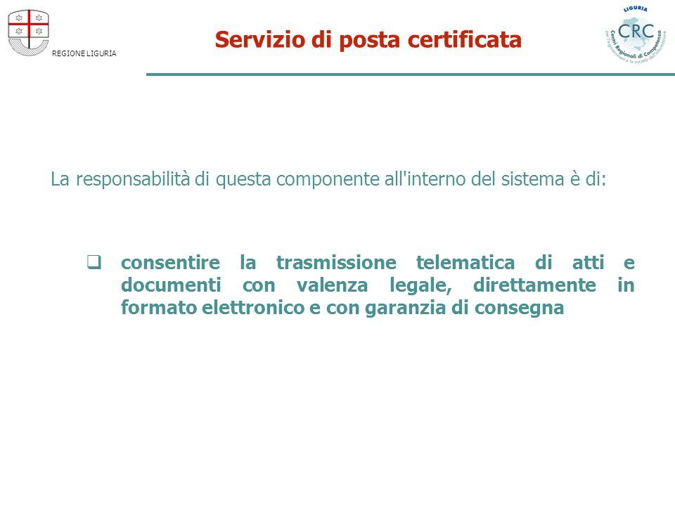 REGIONE LIGURIA Servizio di posta certificata La responsabilità di questa componente all'interno del sistema è di: consentire la trasmissione telemati