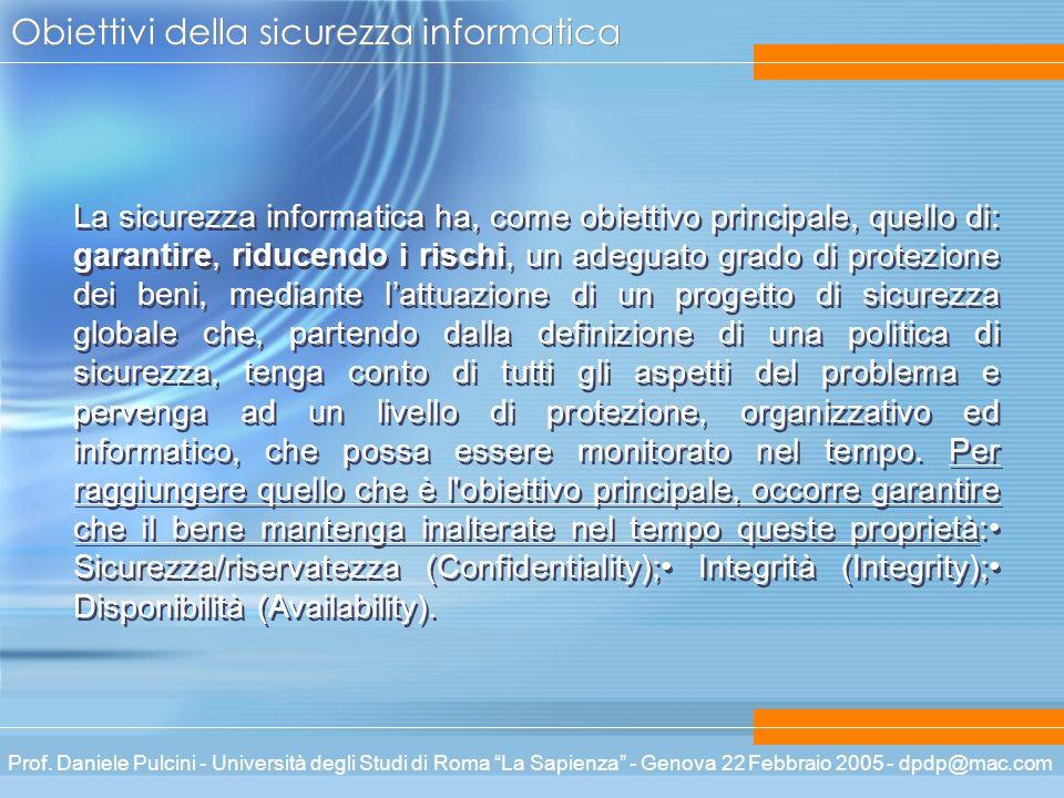 Prof. Daniele Pulcini - Università degli Studi di Roma La Sapienza - Genova 22 Febbraio 2005 - dpdp@mac.com Obiettivi della sicurezza informatica La s