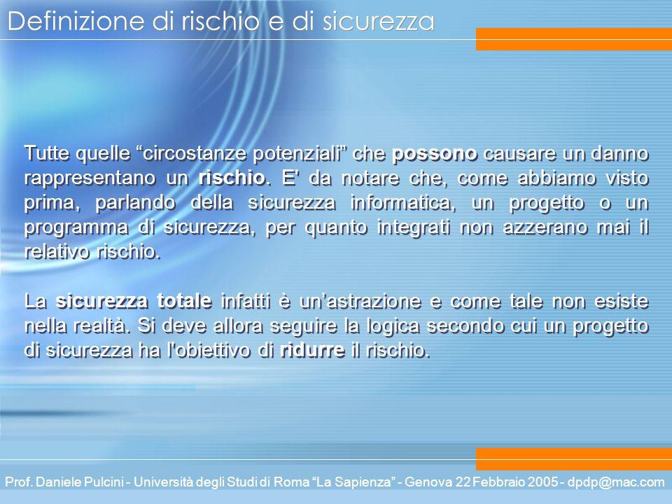Prof. Daniele Pulcini - Università degli Studi di Roma La Sapienza - Genova 22 Febbraio 2005 - dpdp@mac.com Definizione di rischio e di sicurezza Tutt
