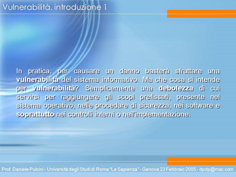 Prof. Daniele Pulcini - Università degli Studi di Roma La Sapienza - Genova 22 Febbraio 2005 - dpdp@mac.com Vulnerabilità, introduzione 1 In pratica,