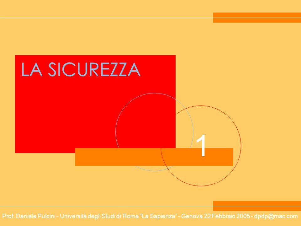 Prof. Daniele Pulcini - Università degli Studi di Roma La Sapienza - Genova 22 Febbraio 2005 - dpdp@mac.com 1 LA SICUREZZA