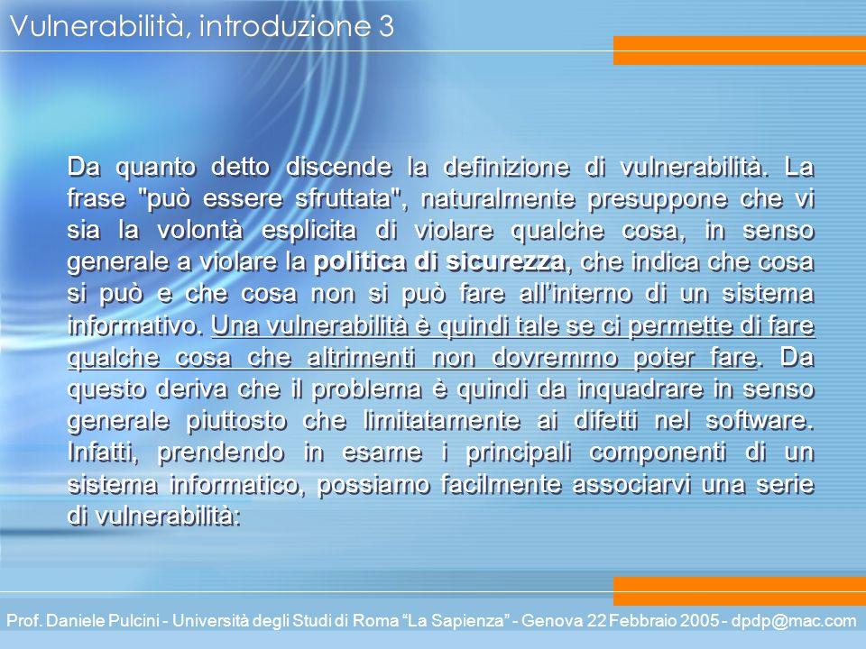 Prof. Daniele Pulcini - Università degli Studi di Roma La Sapienza - Genova 22 Febbraio 2005 - dpdp@mac.com Vulnerabilità, introduzione 3 Da quanto de