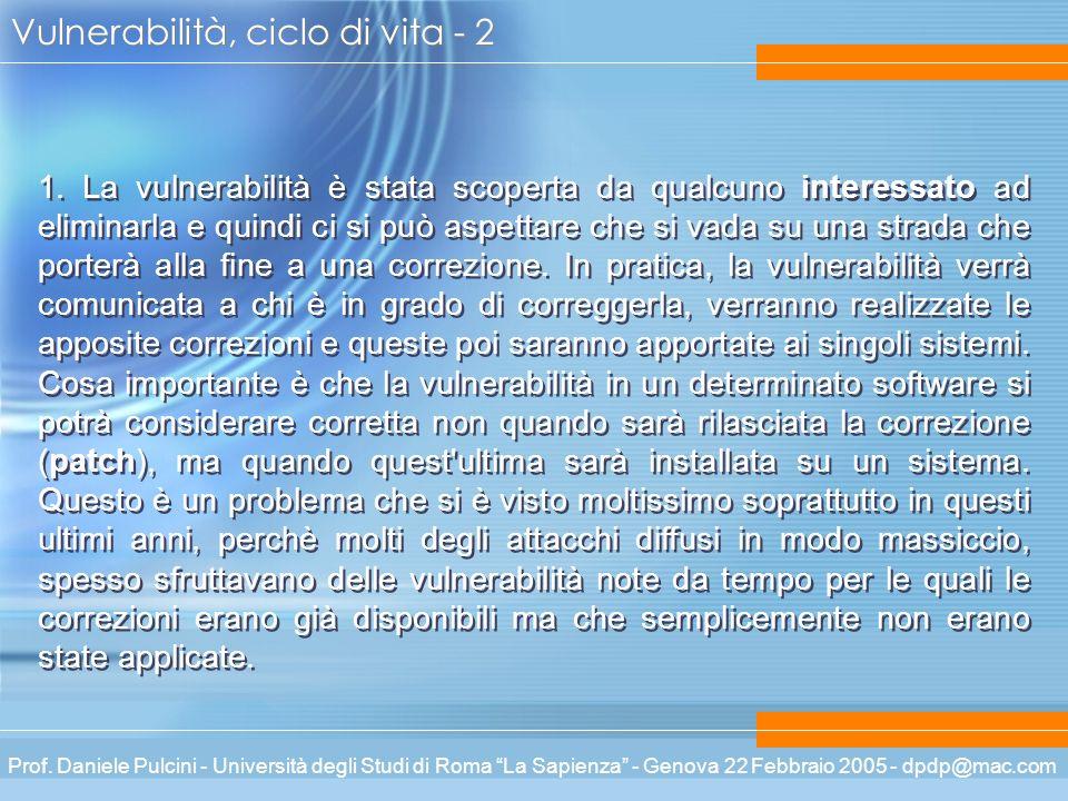 Prof. Daniele Pulcini - Università degli Studi di Roma La Sapienza - Genova 22 Febbraio 2005 - dpdp@mac.com Vulnerabilità, ciclo di vita - 2 1. La vul