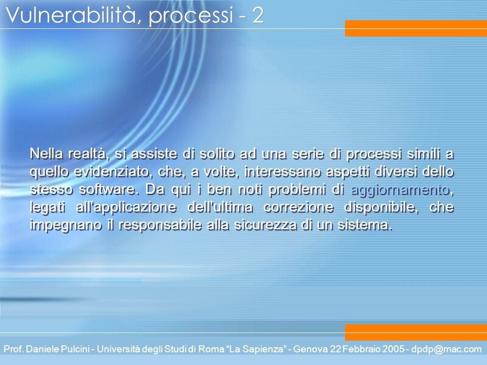 Prof. Daniele Pulcini - Università degli Studi di Roma La Sapienza - Genova 22 Febbraio 2005 - dpdp@mac.com Vulnerabilità, processi - 2 Nella realtà,
