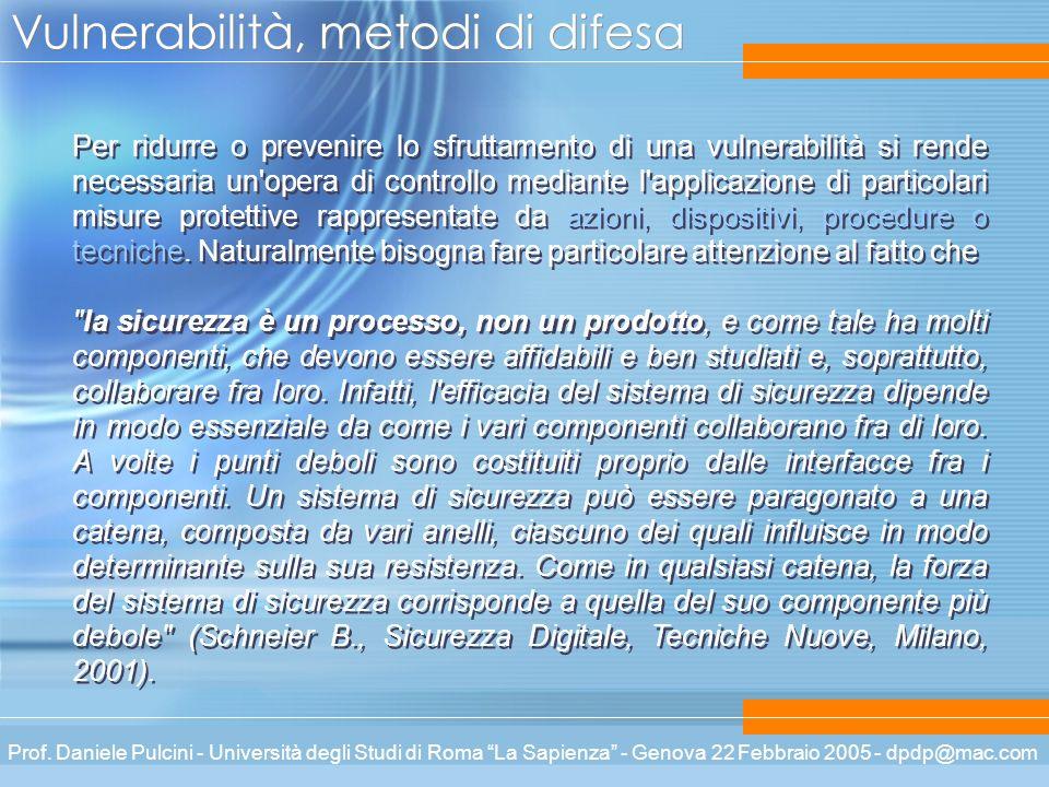 Prof. Daniele Pulcini - Università degli Studi di Roma La Sapienza - Genova 22 Febbraio 2005 - dpdp@mac.com Vulnerabilità, metodi di difesa Per ridurr