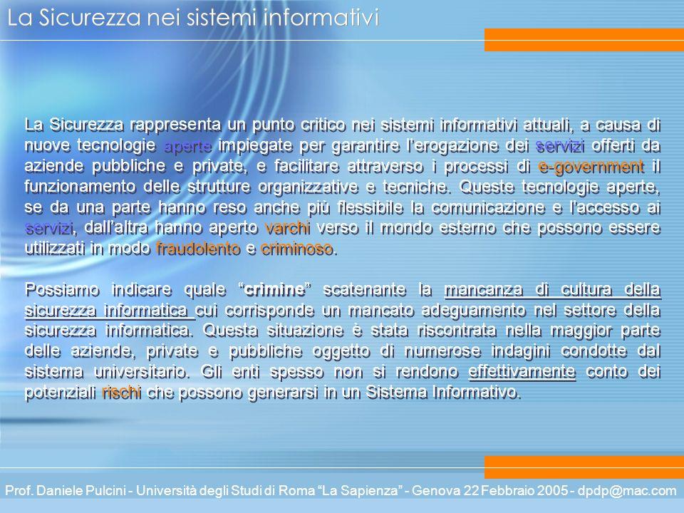 Prof. Daniele Pulcini - Università degli Studi di Roma La Sapienza - Genova 22 Febbraio 2005 - dpdp@mac.com La Sicurezza nei sistemi informativi La Si