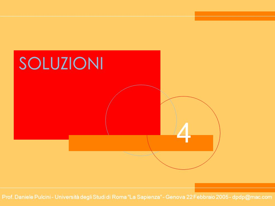 Prof. Daniele Pulcini - Università degli Studi di Roma La Sapienza - Genova 22 Febbraio 2005 - dpdp@mac.com 4 SOLUZIONI