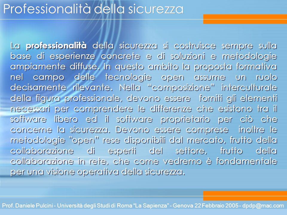 Prof. Daniele Pulcini - Università degli Studi di Roma La Sapienza - Genova 22 Febbraio 2005 - dpdp@mac.com Professionalità della sicurezza La profess
