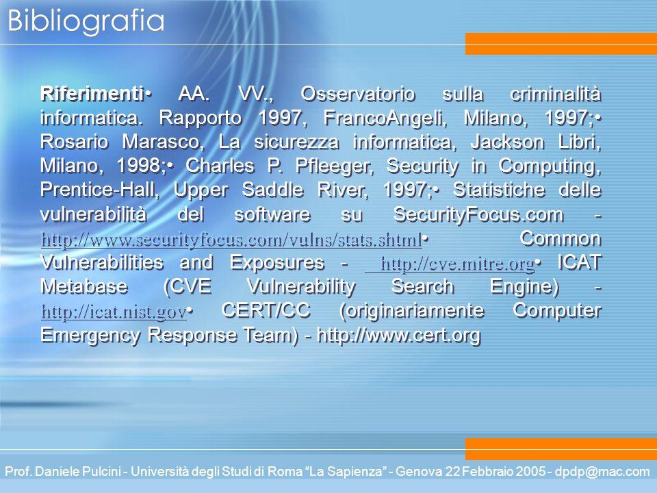Prof. Daniele Pulcini - Università degli Studi di Roma La Sapienza - Genova 22 Febbraio 2005 - dpdp@mac.com Bibliografia Riferimenti AA. VV., Osservat