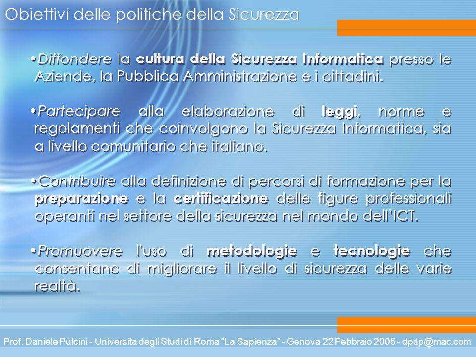 Prof. Daniele Pulcini - Università degli Studi di Roma La Sapienza - Genova 22 Febbraio 2005 - dpdp@mac.com Obiettivi delle politiche della Sicurezza