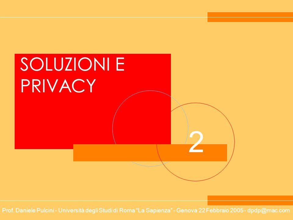 Prof. Daniele Pulcini - Università degli Studi di Roma La Sapienza - Genova 22 Febbraio 2005 - dpdp@mac.com 2 SOLUZIONI E PRIVACY